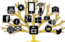Arbol con dispositivos y logos de tecnología